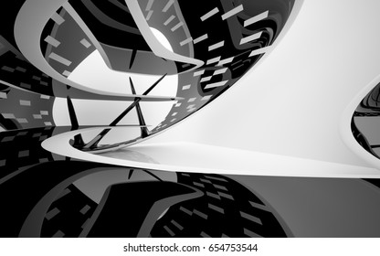 Abstract dynamic white interior with black smooth objects. 3D illustration and rendering