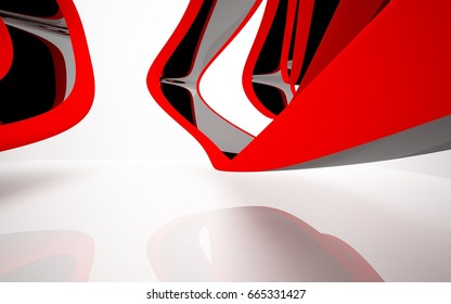 Abstract dynamic white interior with black and red smooth objects. 3D illustration and rendering