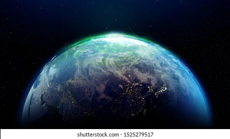 Abstract Earth in Space and Galaxy ( Elements of this image furnished by NASA.)