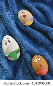 Abstract Eggs family having fun together swimming in blue water