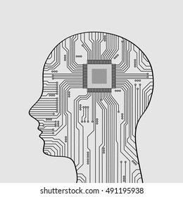 Abstract electronic chip of a human head.