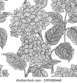 Abstract elegance seamless pattern with floral background. Grey colors.