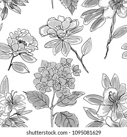 Abstract elegance seamless pattern with floral background. black and white colors.