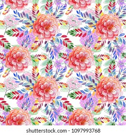 Abstract elegance seamless pattern with floral background. Seamless watercolor.