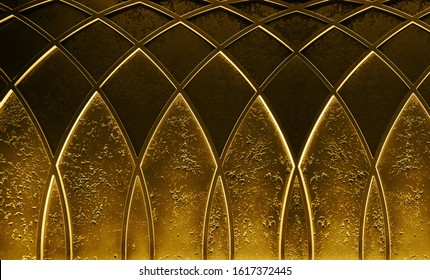 Abstract elegant art deco geometric ornamented gold textured background. Trendy roaring 20s backdrop texture.