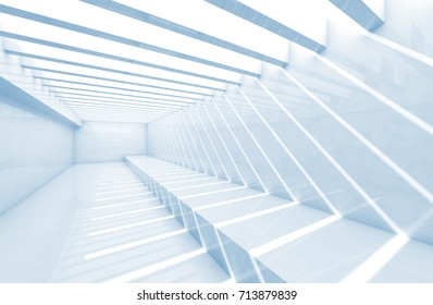 Abstract empty interior background. Corridor with ceiling illumination, pattern of shadows and light beams. Blue toned 3d illustration
