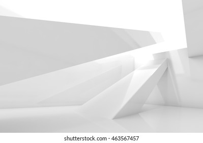 Abstract empty interior background, white room with beams. Digital 3d illustration