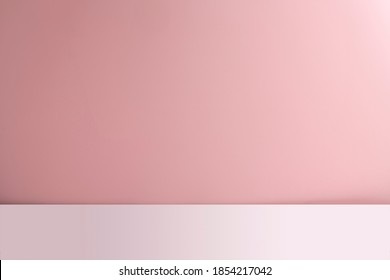 Abstract empty pink background with white base. Scene for advertising, cosmetic ads, showcase, presentation, website, banner, cream, fashion. Illustration. Product display - Shutterstock ID 1854217042