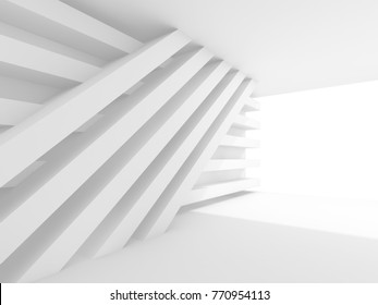 Abstract empty white interior background. White room, soft window illumination and installation of stripe beams on the wall, 3d illustration