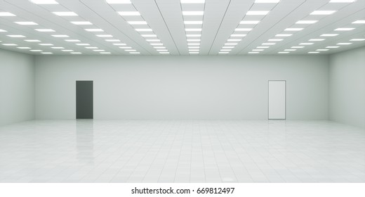 Abstract empty white interior space with office lights. Tiled ceiling and floor. Black and white doors in the wall. Choice or decision concept. 3d rendering illustration
