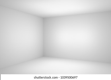 Abstract empty white room corner closeup with white wall, floor, ceiling without any textures, colorless 3d illustration