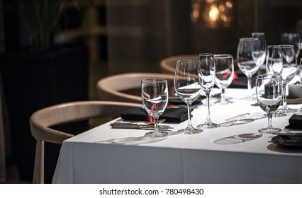 Abstract empty of wine glasses, dark background