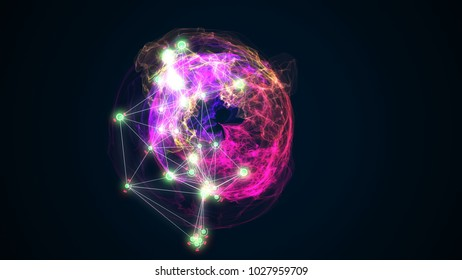 abstract energy ball rotating on black background 3d illustration