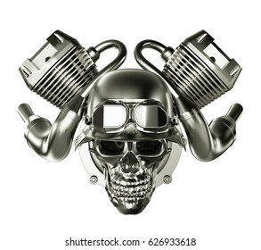 Abstract Engine Motor with Skull on White Background. 3D illustration