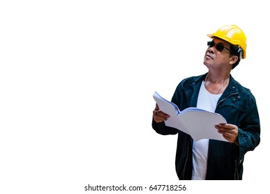 abstract engineer contractor wear yellow helmet and holding house plan will looking above with isolated white background
