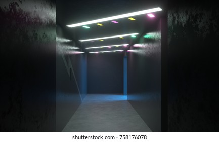 Abstract entertainment space. Dark hallway with colored lighting. Black walls and ceiling. 3d rendering, digital illustration