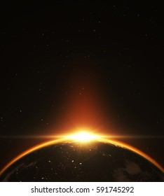 Abstract exoplanet sunrise. 3D illustration