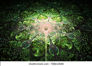 Abstract exotic flower with shining sparks on black background. Fantastic fractal design in green and beige colors. Psychedelic digital art. 3D rendering.