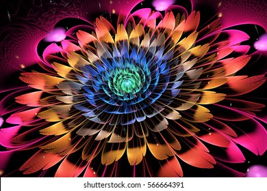 Abstract exotic flower with textured petals on black background. Fantasy fractal design in bright blue, red, orange and pink colors. Psychedelic digital art. 3D rendering.