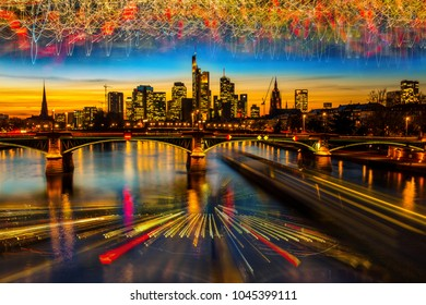 Abstract experimental surreal photo , long exposure, city and car lights. Frankfurt panorama and skyscrapers after sunset,Frankfurt,germany