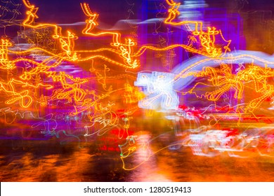 Abstract experimental surreal photo , long exposure, city and vehicle lights.Quantum physics