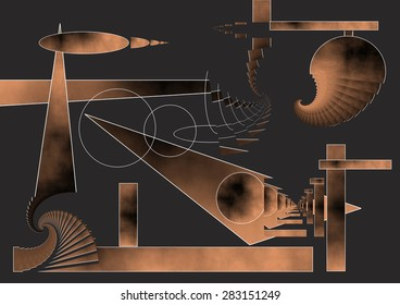 Abstract expressionist illustration of the New Year bells, sound waves spiral invade people celebrating the party, dark background, copper color gradient, homage to Miró,