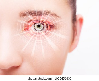 Abstract  eye with digital circle. Futuristic vision science and indentification concept.