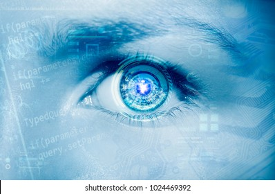 Abstract  eye with digital circle. Futuristic vision science and identification concept.