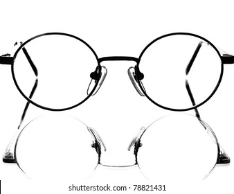 Abstract eyeglass and reflection background design isolated on white.