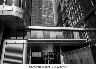 Abstract facades of modern office buildings