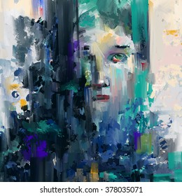 Abstract face. Abstract painting, a face looking through the geometric color shapes.
