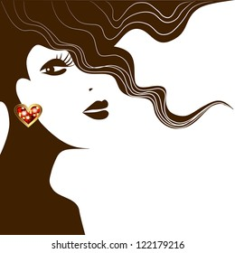 abstract face of a woman with an earring. Raster copy of vector image