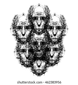 Abstract faces, Many heads, Crowd, Society,  Abstract Art, Portrait