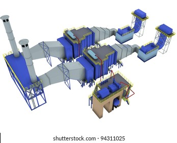 abstract factory interior, (gas-turbine power plant), 3d render isolated on white