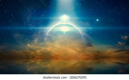 Abstract fantastic image - bright mysterious extraterrestrial lights or UFO shine over glowing horizon. Stars and a powerful searchlight in dark blue sky. Sea is calm below.