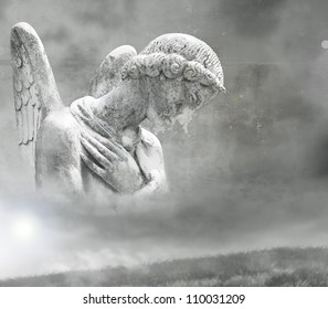 Abstract fantasy of a beautiful angel in a surrealistic background in black and white