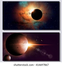 abstract fantasy deep space banners with planets and stars