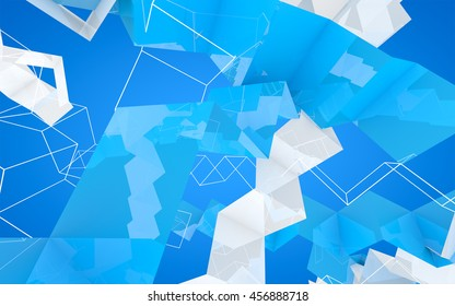 Abstract fashion background with blue and white geometric figures, shapes and lines, 3D illustration.