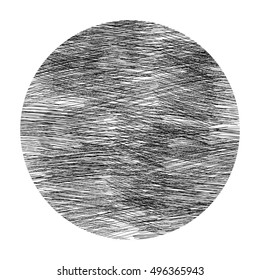 Abstract figure, a circle of dark lines on a white background. Drawing by hand. An additional element of the composition. Element of design the interior. Circle shading chaotic