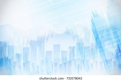 Abstract financial chart with graph in Double exposure style on white color background