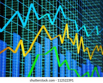 Abstract of financial data featuring line graph, bar graph and random numbers