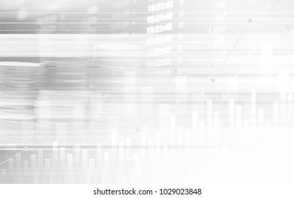 Abstract financial stock numbers chart with graph and stack of coins in Double exposure style background