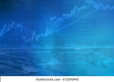 Abstract financial stock numbers chart with graph and business woman in Double exposure style background