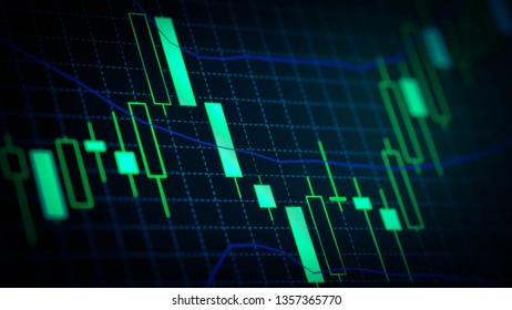 Abstract financial trading graphs on monitor. Background with currency bars and candlestick chart
