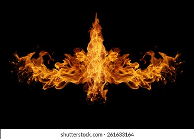 Abstract  Fire flames on black background