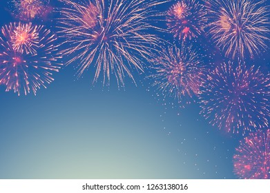 abstract fireworks background and space for text