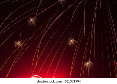 Abstract Fireworks close-up against black sky