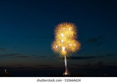 Abstract fireworks during fireworks world championships at Scheveningen
