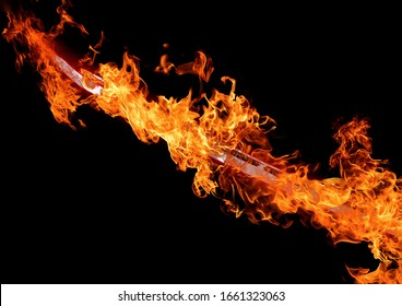 Abstract flame sword illuminating the dark