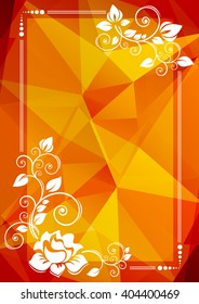 Abstract floral border on a brown-orange polygonal background.